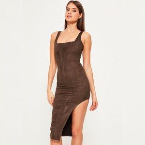 Missguided brown faux suede asymmetric dress Sz 4
